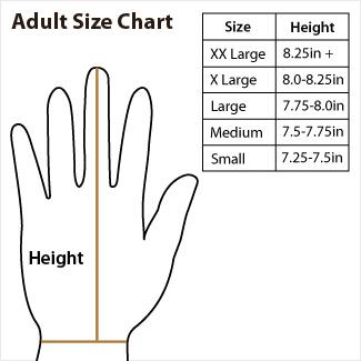 Adult Batting Glove Size Chart